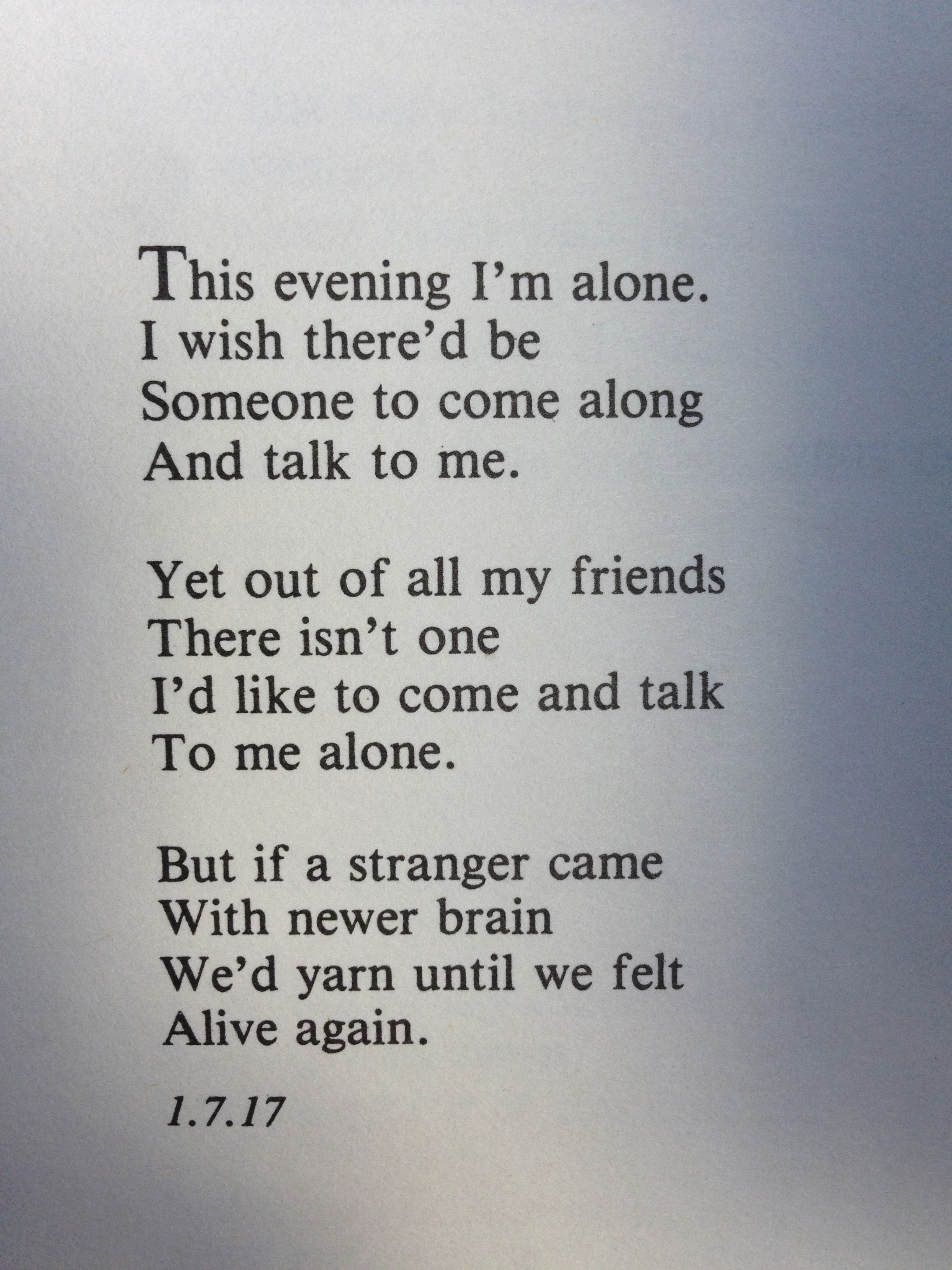 Sad poems about being alone